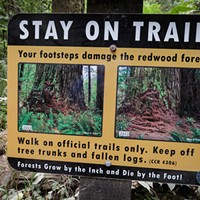 Stay on trail sign.