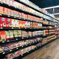 Stocked shelves at the new grocery store.