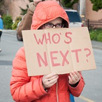 "Sunny Brae Middle School Student Nova Vaur held a sign asking, ""Who's next?"" at Saturday's March for Our Lives in Arcata."