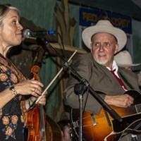 Elana James and Dave Stuckey share a moment during the Western Swing All Stars' performance on Friday night at the Adorni Center.
