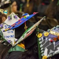 Creative mortarboard caps worn by graduating seniors at Friday and Saturday ceremonies at HSU.