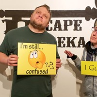 Aaron Cuene and the author after making their escape.