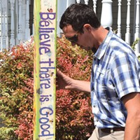Fortuna Parks and Recreation Director Cameron Mull checks out the city's new pole.