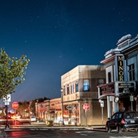 The historic Arcata Minor Theater bathed in moonlight beneath the stars during the PG&E power shutoff.
