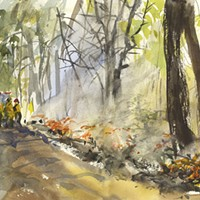 Art by Laurie Wigham captures a controlled burn.