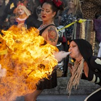 The Bella Vita Fire Dance Company burns it up on the Arcata Plaza.