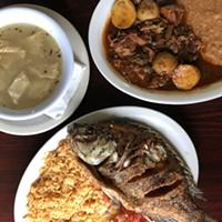 Minimalist white menudo, barbacoa and fried mojarra fish.