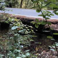 A culvert area in Whitmore Grove west of Redway is failing and undercutting the asphalt.
