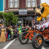 Participants in the Kinetic Grand Championship arrived at the finish line on Ferndale's Main Street.