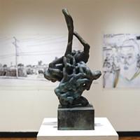 "Funke's cast bronze ""Swish"" sculpture (2019)."