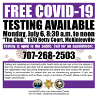 Appointments for June 29  COVID-19 Testing in McKinleyville Filled; Another Date Set