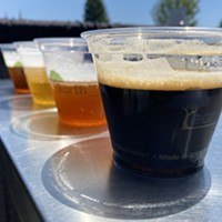 A flight of Powers Creek craft beer served outside of the Blue Lake Casino, including an Irish-style dry stout, a Scottish-style export ale, a blonde session ale and a double IPA.