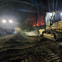 Dozers on the August Complex fireline night before last.