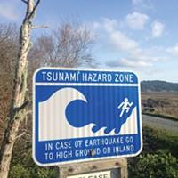 Tsunami warning sign.