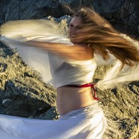 "Isadora Sharon spun around while rehearsing ""Veil/Re-Veil"" on Moonstone Beach before sunset Saturday."