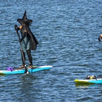 These well-dressed witches on stand-up paddle boards headed back to the put-in location after turning around at the Samoa Bridge Boat Launch near Halvorsen Park.