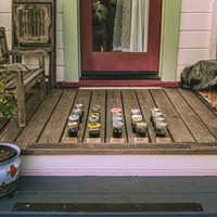 The Monday night wine tasting lineup on the author's porch.