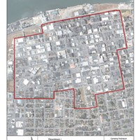 A city map shows one of the business zones in which camping will be prohibited under the city's new ordinance.