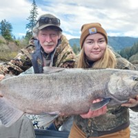 Haley Hensel, of Crescent City, holds a 35-pound king salmon she caught and released Nov. 29 while fishing with guide Mick Thomas of Lunker Fish Trips.