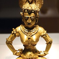 "Four-pound gold ""Agusan"" image from the Philippines, ninth century, representing either a Hindu Shiva worshipper or a Buddhist Tara."