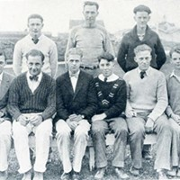 A photo of Leo Gallagher (seated second from right) as an officer of the Boys' League in the 1928 Fortuna Union High School Megaphone yearbook.