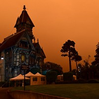 The Ingomar Club takes on a foreboding look amid wildfire smoke on Sept. 9.