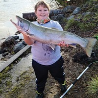 Ten-year-old Asha Quinlan, of Arcata, landed this nice hatchery steelhead Dec. 31, 2020, while fishing the Mad River.