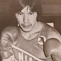 Local boxing legend Junior Albers puts up his dukes.