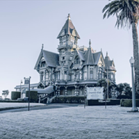 A frosty Carson Mansion.