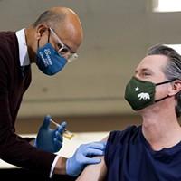 Gov. Gavin Newsom receives the Johnson & Johnson COVID-19 vaccine at the Baldwin Hills Crenshaw Plaza in Los Angeles on April 1, 2021.