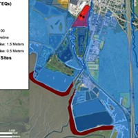 Baykeeper Map: A map shows contaminated sites in red and sea-level rise projections in blue.