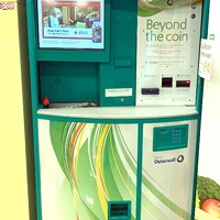 """Got Bitcoin? This """"Bitcoin ATM,"""" in Safeway on Harris Street in Eureka, is one of more than 4,400 Coinstar-Coinme machines in 33 states."""