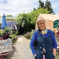 Kathy Mullen at the Kneeland Glen Farm Stand on the Freshwater Farms Reserve.