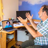 Michael Fratkin talks via zoom with one of his HR specialist Emily Trutt.
