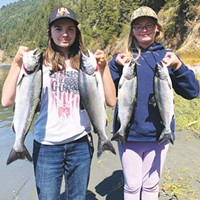 Kyliee, left and sister Maycee Jacks of Eureka scored a limit of jack salmon Saturday while fishing the Klamath River.