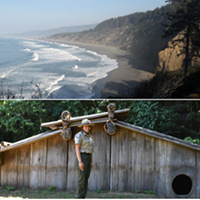 Top: Agate Beach at Patrick's Point State Park. Bottom: Maiya Rainer, Yurok Tribal member and State Park Interpreter at Sumeg Village, Patrick's Point State Park. Photos from California State Parks.