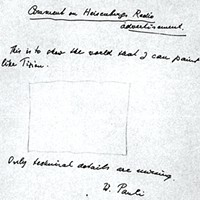 """Wolfgang Pauli's 1958 """"empty rectangle"""" message to physicist Robert Oppenheimer: """"This is to show the world that I can paint like Titian. Only technical details are missing."""""""