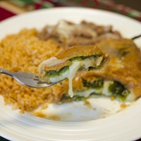 A forkful of Esmeralda's chile relleno.