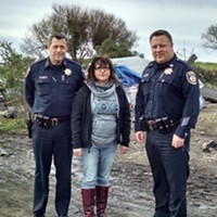 Connie Beck, with Eureka Police Chief Andrew Mills (left) and Capt. Steve Watson during a recent tour of the homeless encampments in the PalCo Marsh.
