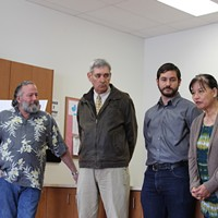 HumCPR founder Lee Ulansey, Eureka Mayor Frank Jager, HumCPR Executive Director Alec Ziegler and Betty Chinn (from left to right) at today's press conference.