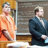 Gary Lee Bullock (above left) stands next to his attorney, Kaleb Cockrum, during his arraignment.
