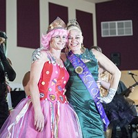 PoiSin Candie, left, celebrates being crowned the 2016 Rutabaga Queen with 2015 Queen Glorya Kiddnetica.