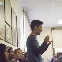 Diego Morales speaks out at the university senate meeting discussing marginalization at Eureka High School.
