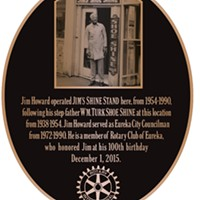 The plaque honoring Jim Howard at Third and E streets.