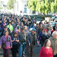 A crowd stretching several blocks marched through Eureka with the Eureka branch of the NAACP and the Eureka Police Department in honor of Martin Luther King Day.