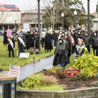 Silent People in Black Protest on Arcata Plaza