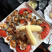 A luxe lobster and oyster spread from Five Eleven.