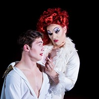 William English (left) and David Hamilton star in the tale of an Elvis impersonator turned drag queen.