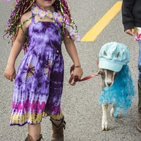 River Christie, of Blue Lake, and her costumed pet goat.