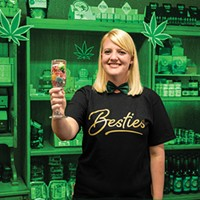 Humboldt's Best Budtender Savannah Snow toasting with Synergy Gummies, winner of Best Local Cannabis Product.